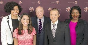 From left: Ailes Apprentice Program grads Breana Jones, Megan Grogan, Felipe Tognarelli and Shavon White with Fox News Channel Chairman and CEO Roger Ailes (center)