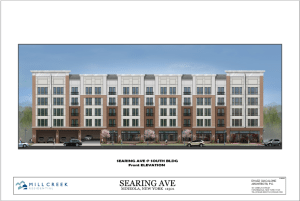 An artist rendering of the south building in the proposed 197-unit apartment complex for Searing Avenue