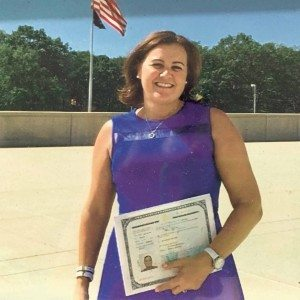 Joan Katinas the day she became a citizen