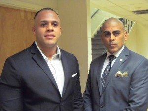 Marines Brian Gomez (left) and Antonasio Hernandez plan to open MSTANY on Herricks Road.